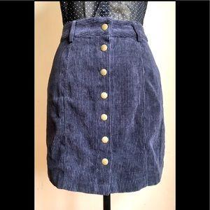 Navy Blue Corduroy Mini Skirt w/ Brass Buttons, M